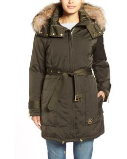 'jeri' Belted Down Parka With Genuine Fox Or Coyote Fur Trim