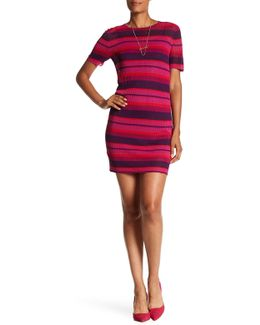 Blu Stripe Body-con Sweater Dress