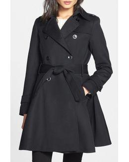 Gwyneth Flared Wool Gabardine Trench Coat