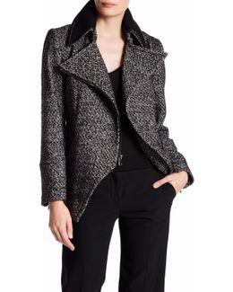 Abbey Faux Leather Trim Wool Blend Coat