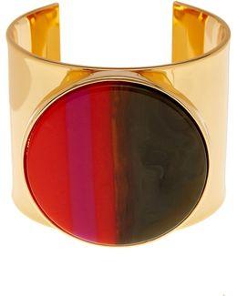 Multicolor Resin Disc Cuff Bracelet