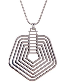 Multi-line Pentagon Pendant Necklace