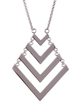 Chain Drop Chevron Pendant Necklace