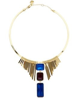 Fringe & Triple Stone Drop Frontal Collar Necklace