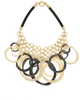 Chain Link Mesh & Striated Hoop Frontal Necklace
