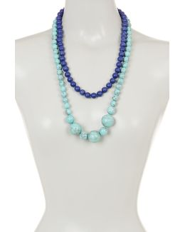 Double Strand Two-tone Beaded Necklace
