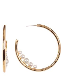Imitation Pearl Accented Hoop Earrings