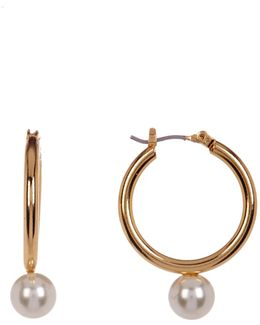Imitation Pearl Drop Hoop Earrings