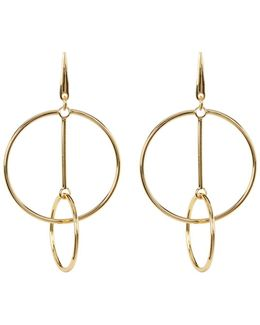 Double Ring Linear Drop Earrings