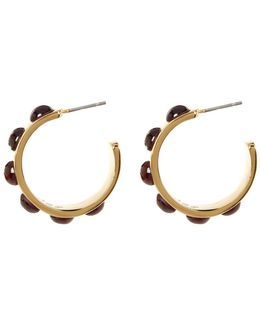 Cab Set Hoop Earrings
