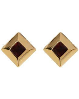 Small Square Button Earrings