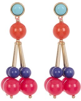Multicolor Bead Cluster Drop Earrings
