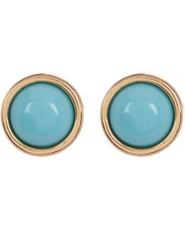 Semi-precious Cabochon Stud Earrings