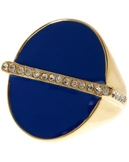 Pave Bar Enamel Oval Ring - Size 7