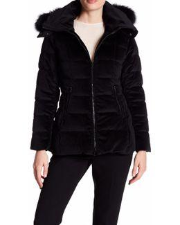 Emma Genuine Blue Fox Fur Trim Quilted Coat