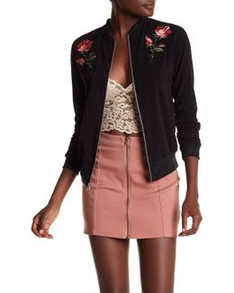 Rose Applique Sweater Bomber Jacket