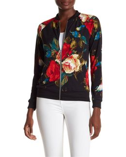 Asian Floral Print Bomber Jacket