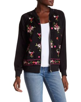 Mesh Floral Embroidery Bomber Jacket