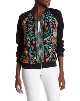 Mesh Embroidery Bomber Jacket