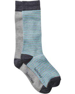 Solid & Stripe Crew Socks - Pack Of 2