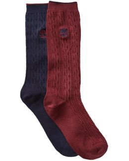 Cable Knit Crew Socks - Pack Of 2