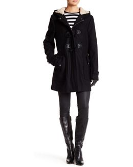Faux Shearling Trim Wool Blend Jacket