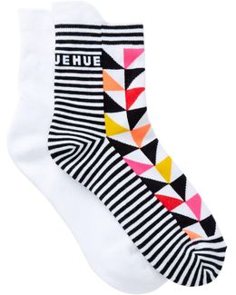 Tab Back Crew Socks - Pack Of 2