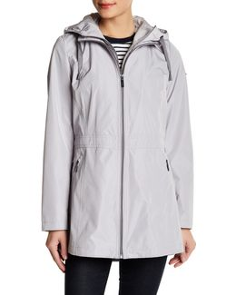 Hooded Cinch Zip Raincoat