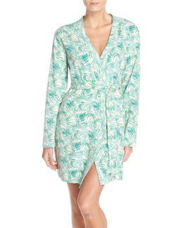 Clio Island Floral Print Waffle Knit Robe