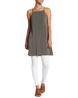 Woven Split Side Long Cami Blouse