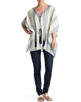 Embroidered Towel Stripe Poncho