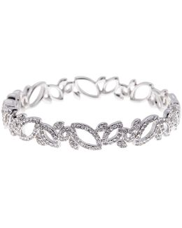 Openwork & Crystal Embellished Leaf Bangle Bracelet