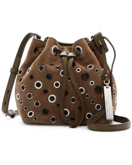 Chip Leather & Suede Grommet Drawstring Crossbody