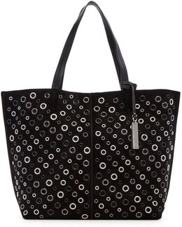 Chip Leather & Suede Grommet Tote