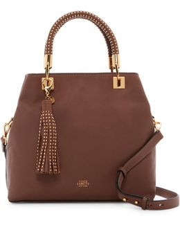 Elva Studded Leather Satchel