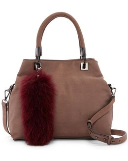 Elva Leather & Genuine Fox Fur Satchel