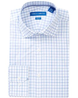 Melange Check Trim Fit Dress Shirt