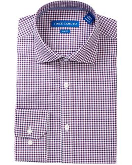 Gingham Trim Fit Dress Shirt
