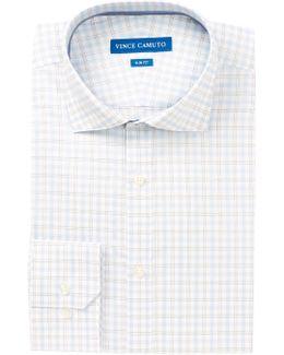 Crystal Blue Windowpane Slim Fit Dress Shirt