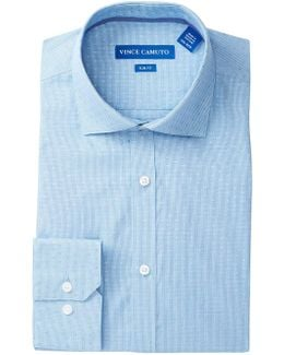 Turquoise Gingham Dobby Slim Fit Dress Shirt