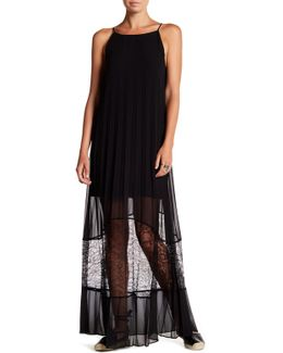 Pleated Maxi Lace Dress
