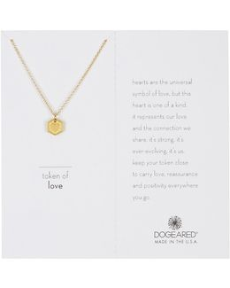 14k Gold Plated Sterling Silver Token Of Love Heart Charm Necklace