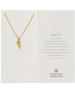 14k Gold Plated Sterling Silver Angel Love Wing Pendant Necklace