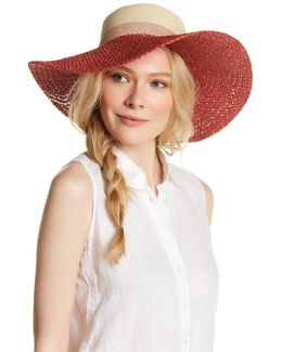 Colorblock Woven Floppy Hat