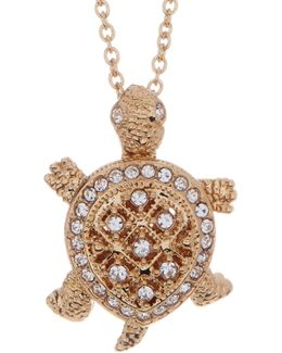 Crystal Pave Turtle Pendant Necklace