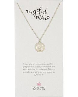 Sterling Silver Angel Of Mine Round Pendant Necklace