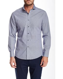 Long Sleeve Dobby Gingham Slim Fit Shirt