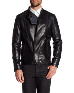 Perforated Genuine Leather Moto Jacket