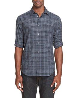 Long Sleeve Slim Fit Plaid Shirt