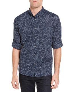 Mitchell Slim Fit Print Roll Sleeve Sport Shirt